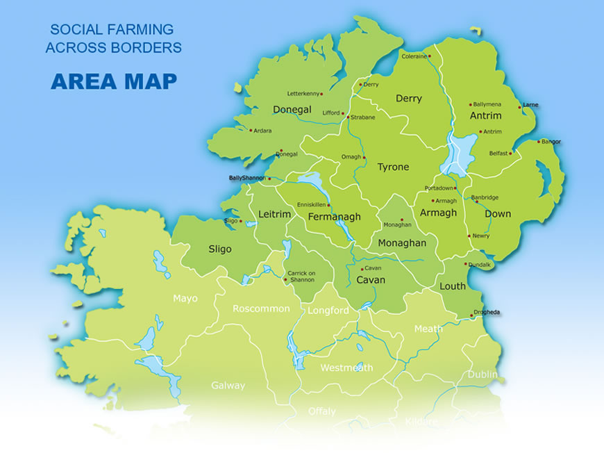 Map Of Ireland With County Borders.Social Farming In Northern Ireland And The Border Counties Of Ireland
